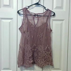 Purple lace tank